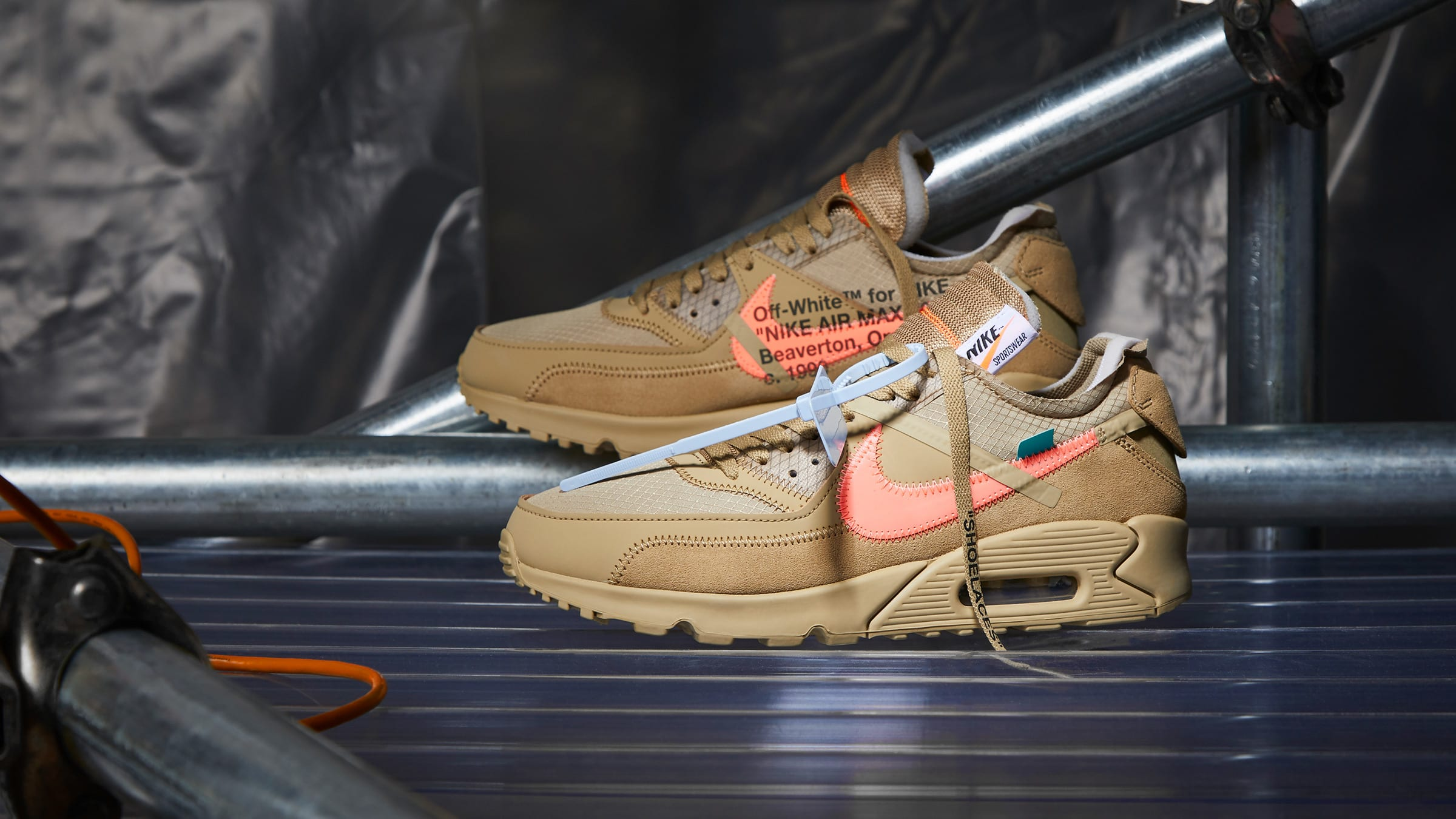 separation shoes 35703 cd253 OFF WHITE x Nike Air Max 90 Desert Ore & Black/White ...