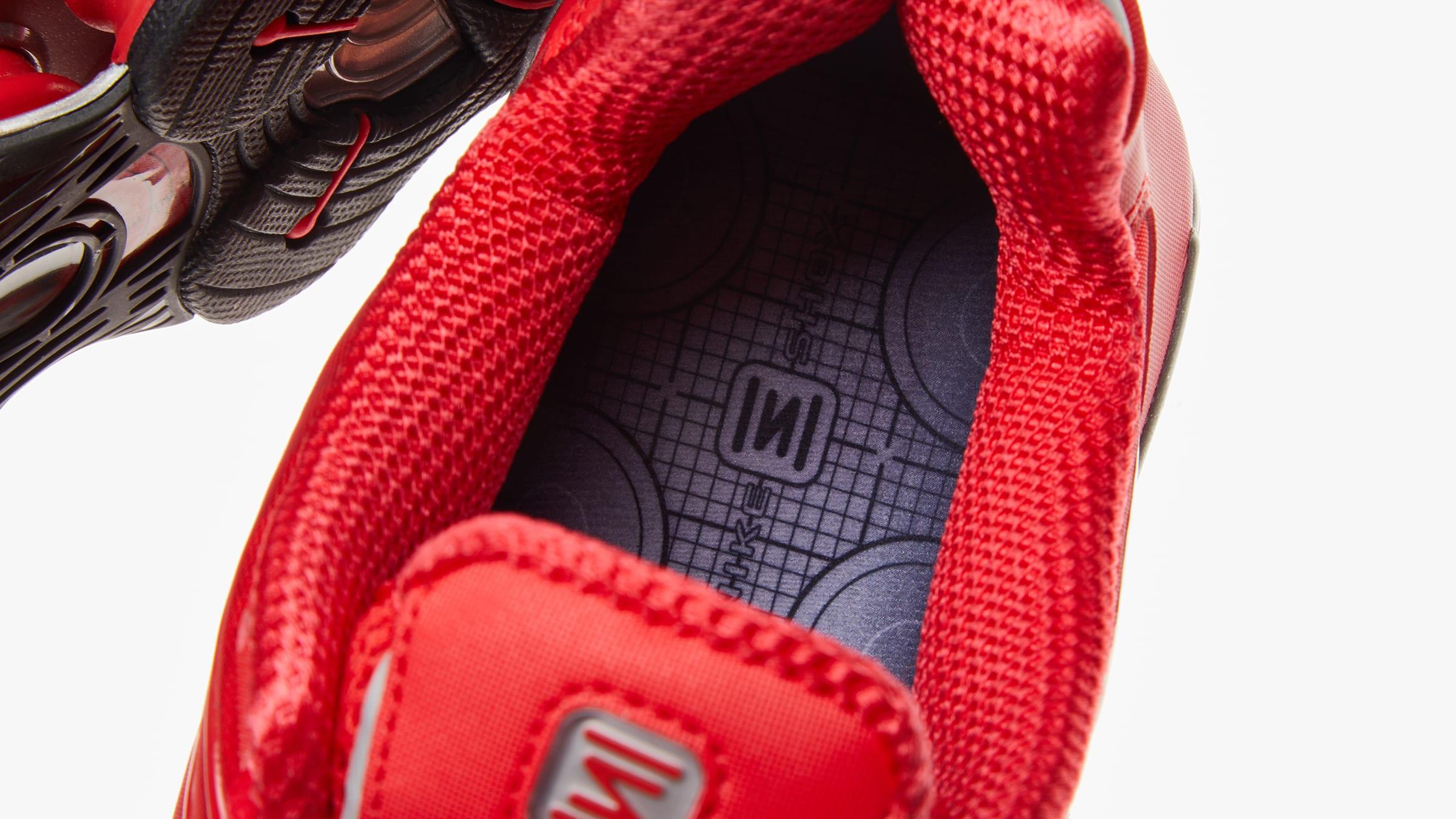 70beb73853eea Nike Shox TL. Speed Red & Metallic Silver£149. Recalling their  revolutionary status from a bygone era
