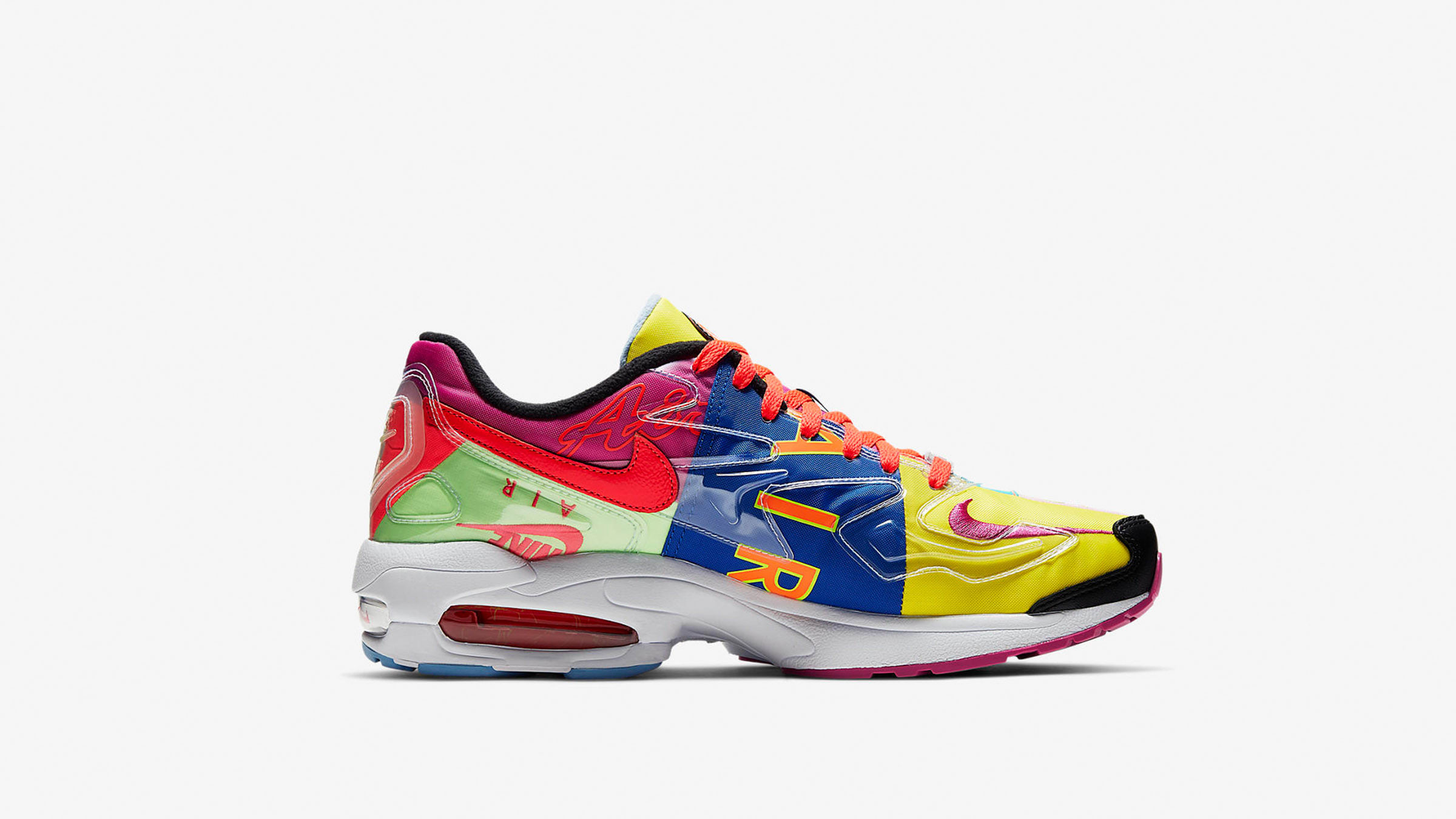 uk availability ee1b5 31abb Nike x Atmos Air Max 2 Light. Black   Bright Crimson£135. the vibrancy of  Atmos  cross-pollinating ideas is translated through the DIY articulation