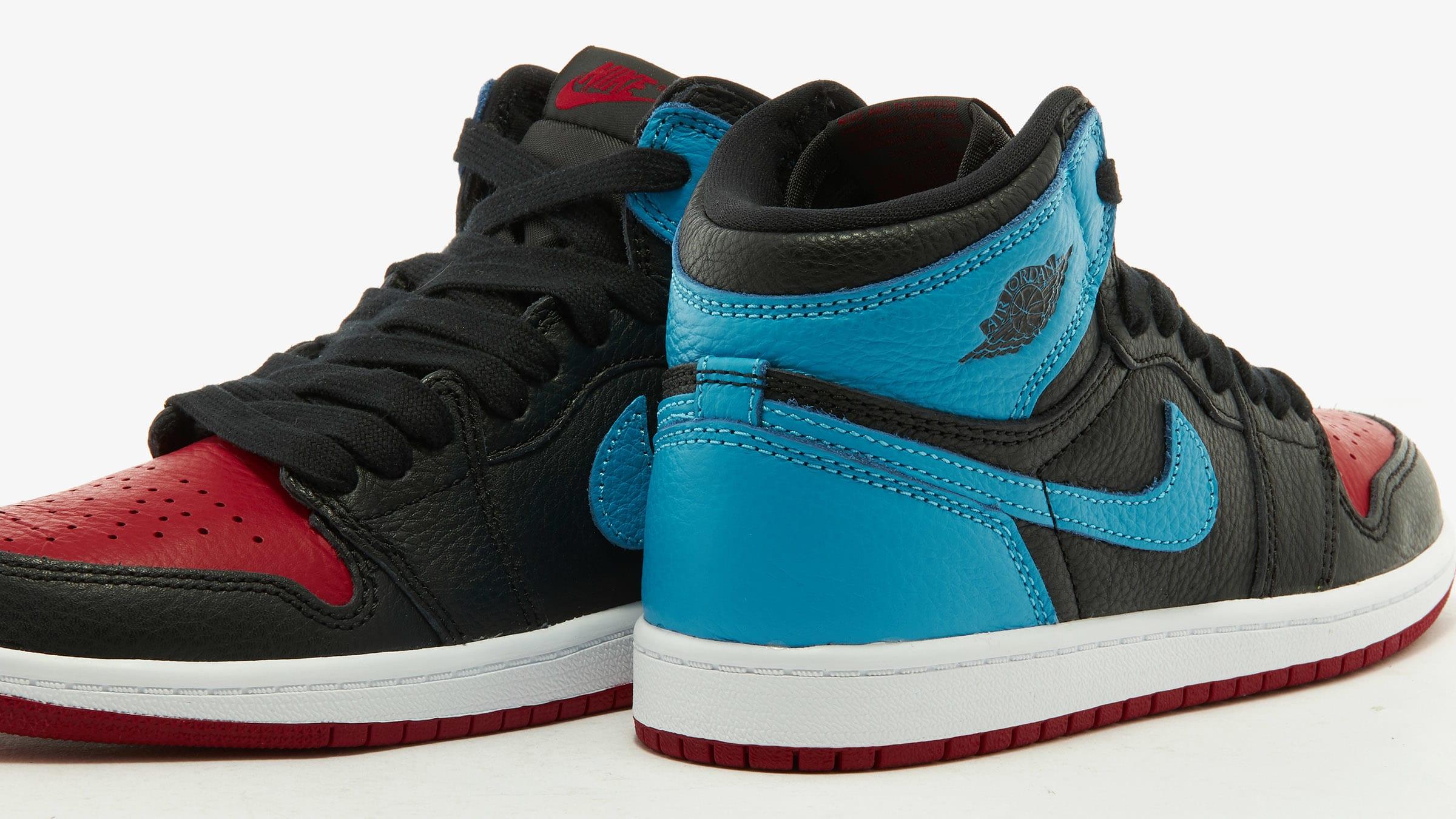 NIKE AIR JORDAN 1 HIGH OG PS BLACK/DK POWDER BLUE/GYM RED