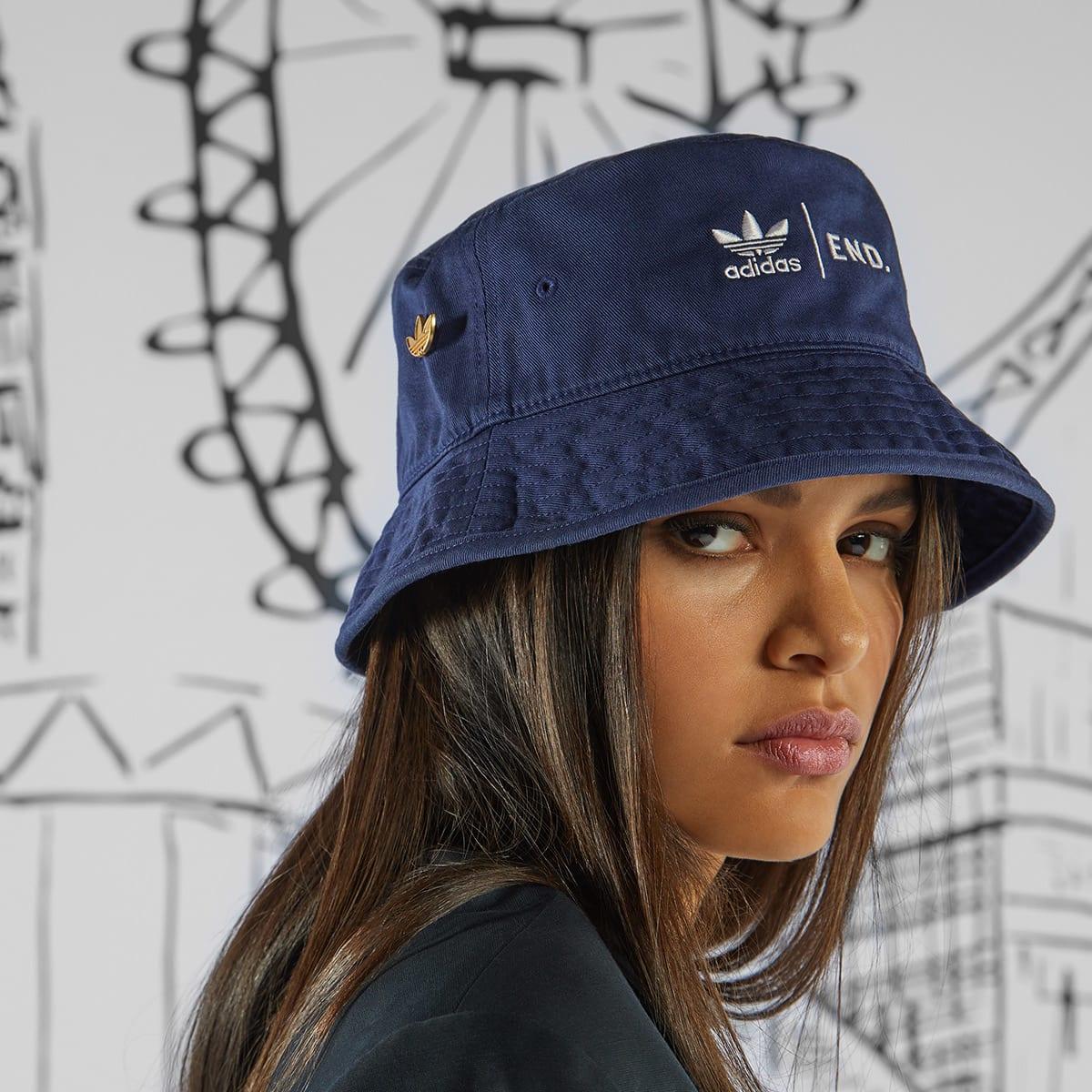 End X Adidas Three Bridges Bucket Hat Dark Blue White